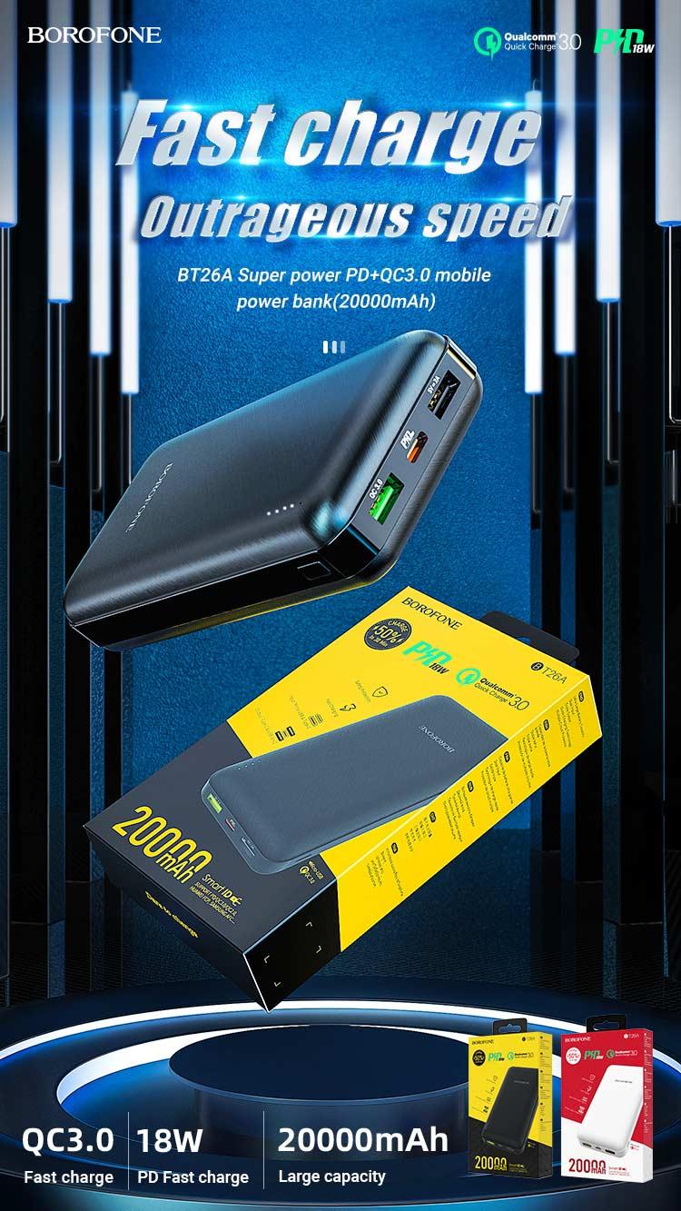borofone news bt26a super power pd qc mobile power bank 20000mah en