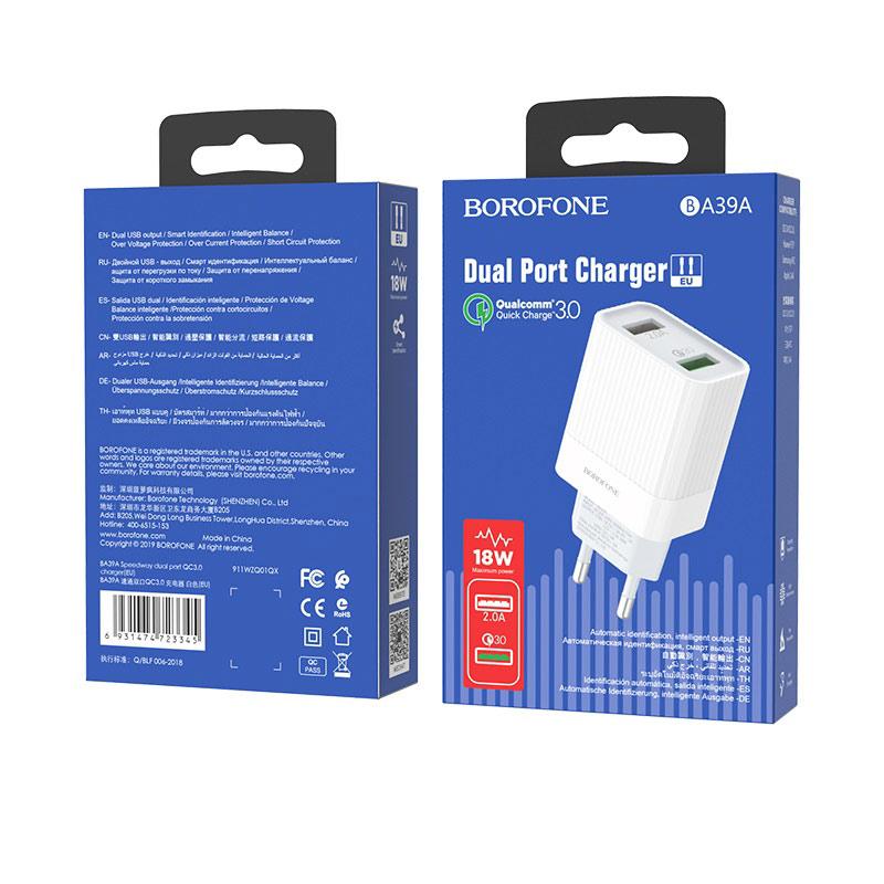 borofone ba39a speedway dual port qc3 charger eu package