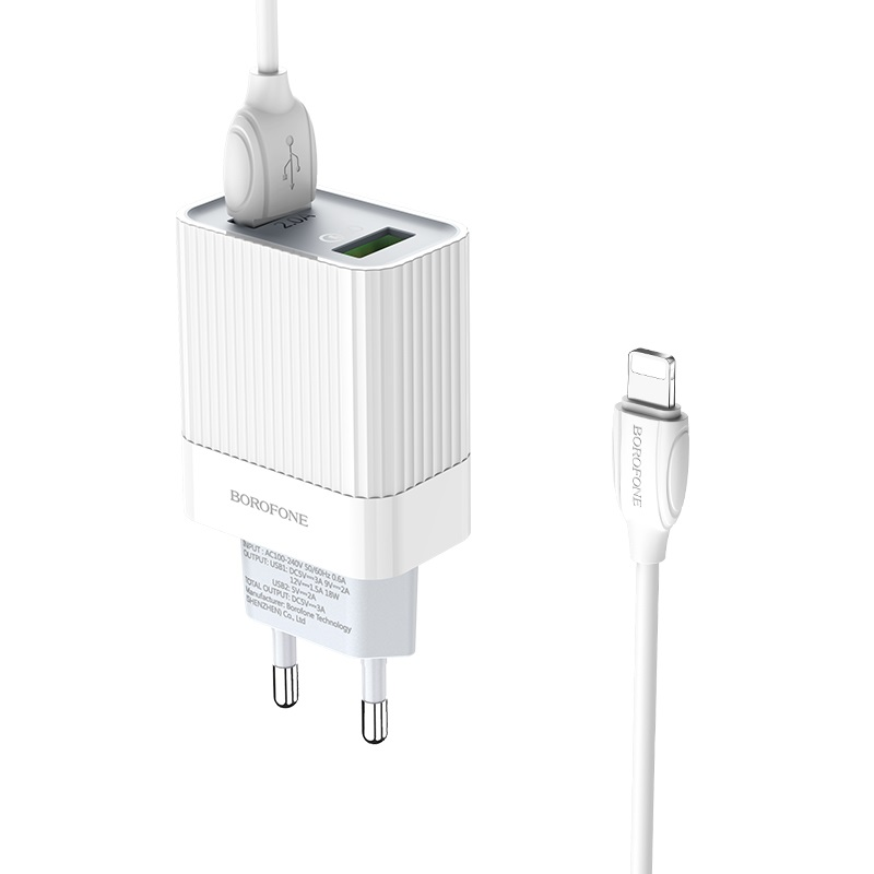 borofone ba39a speedway dual port qc3 charger eu set with lightning cable kit