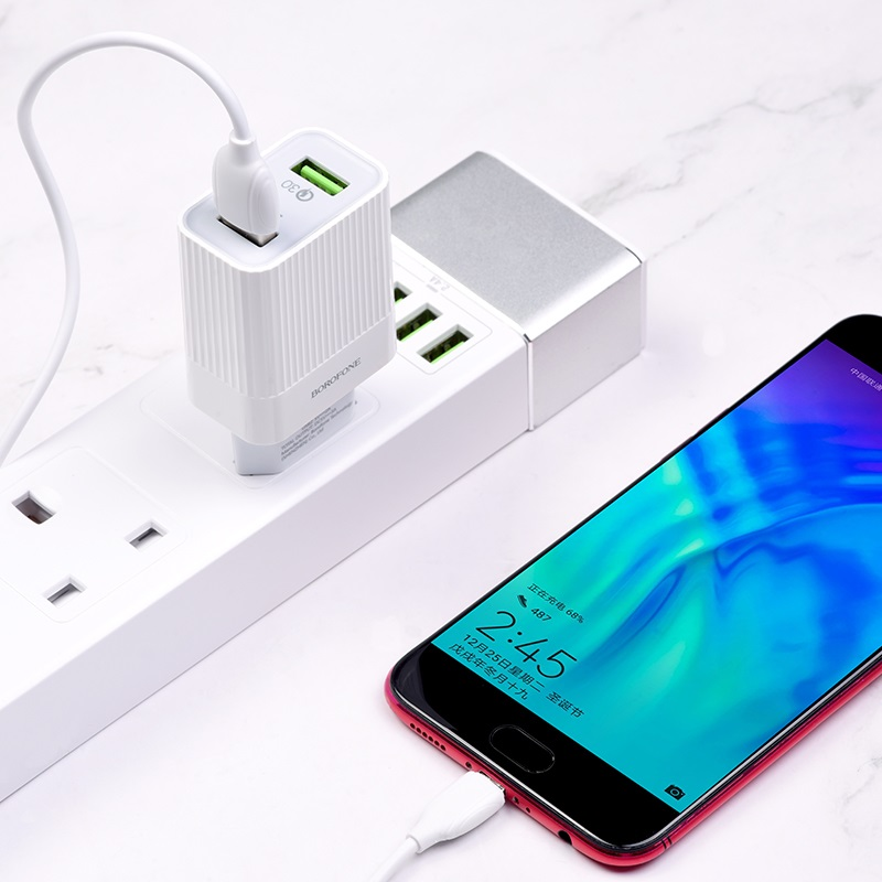borofone ba39a speedway dual port qc3 charger eu set with micro usb cable charging