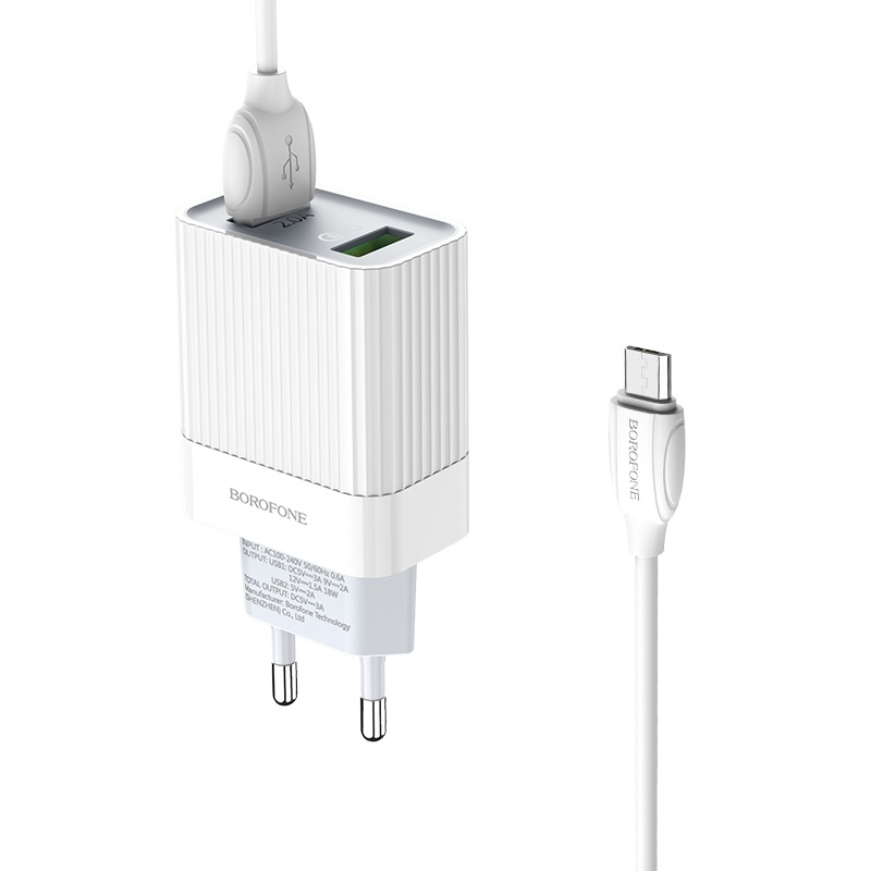 borofone ba39a speedway dual port qc3 charger eu set with micro usb cable kit
