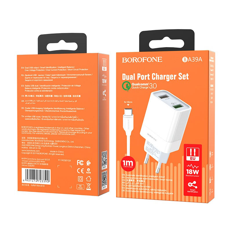borofone ba39a speedway dual port qc3 charger eu set with micro usb cable package