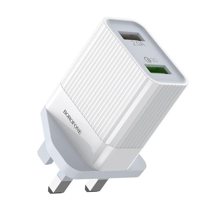 borofone ba39b speedway dual port qc3 charger uk shell