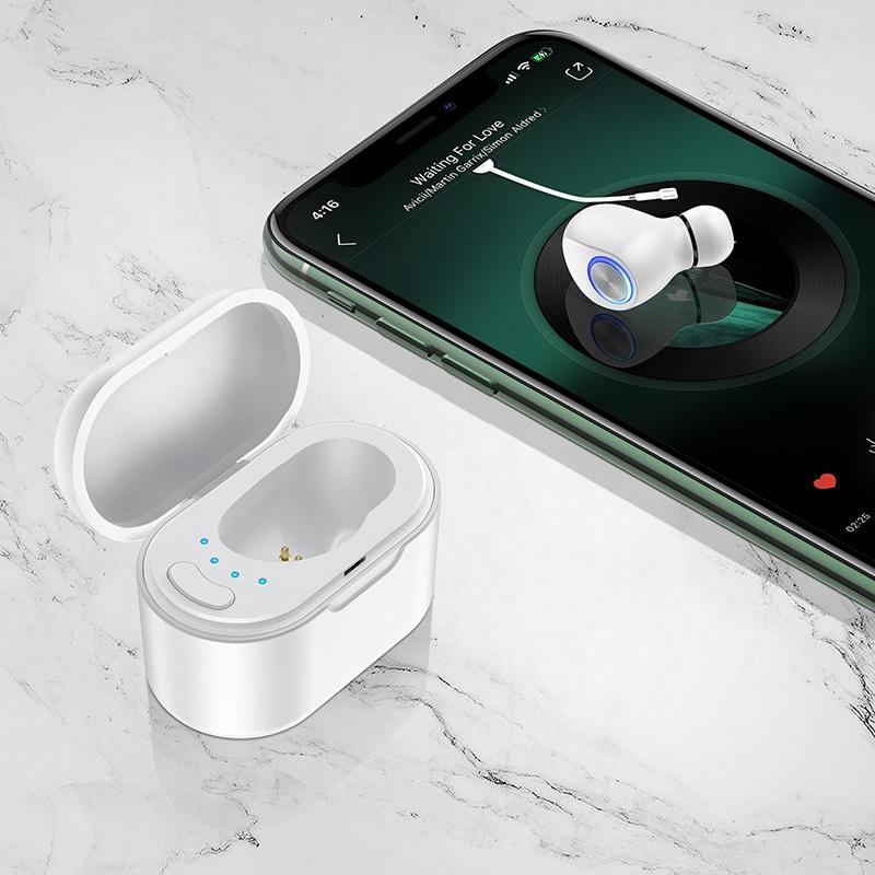 borofone bc29 lambent mini wireless headset with charging case interior white