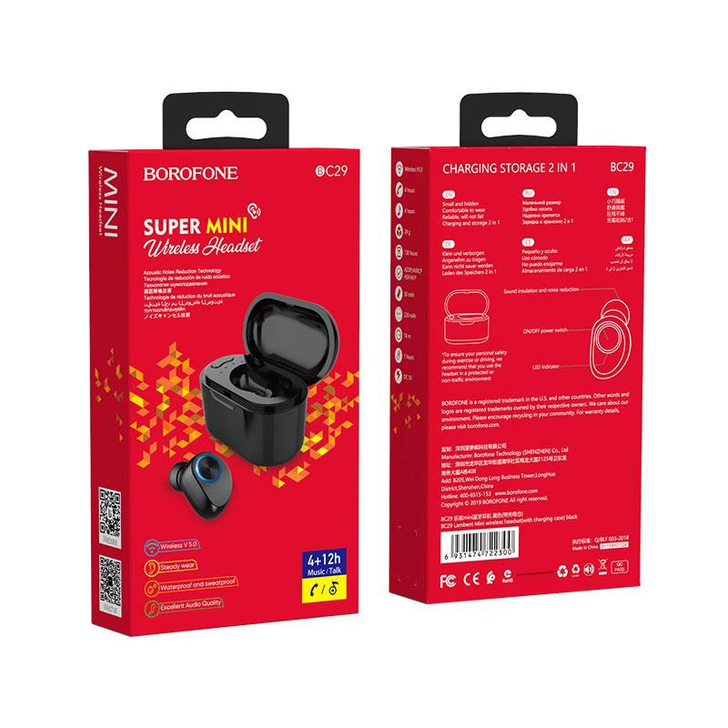 borofone bc29 lambent mini wireless headset with charging case package black