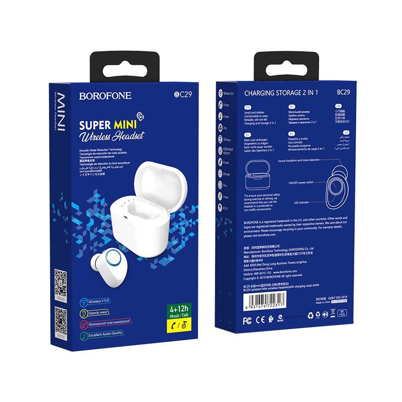 borofone bc29 lambent mini wireless headset with charging case package white