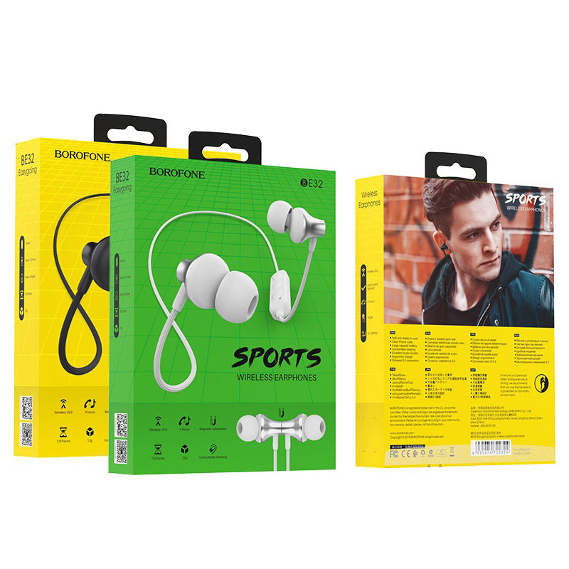 borofone be32 easygoing sports wireless earphones package
