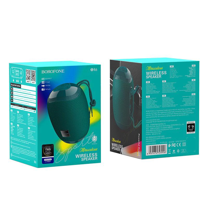borofone br6 miraculous sports wireless speaker package peacock blue