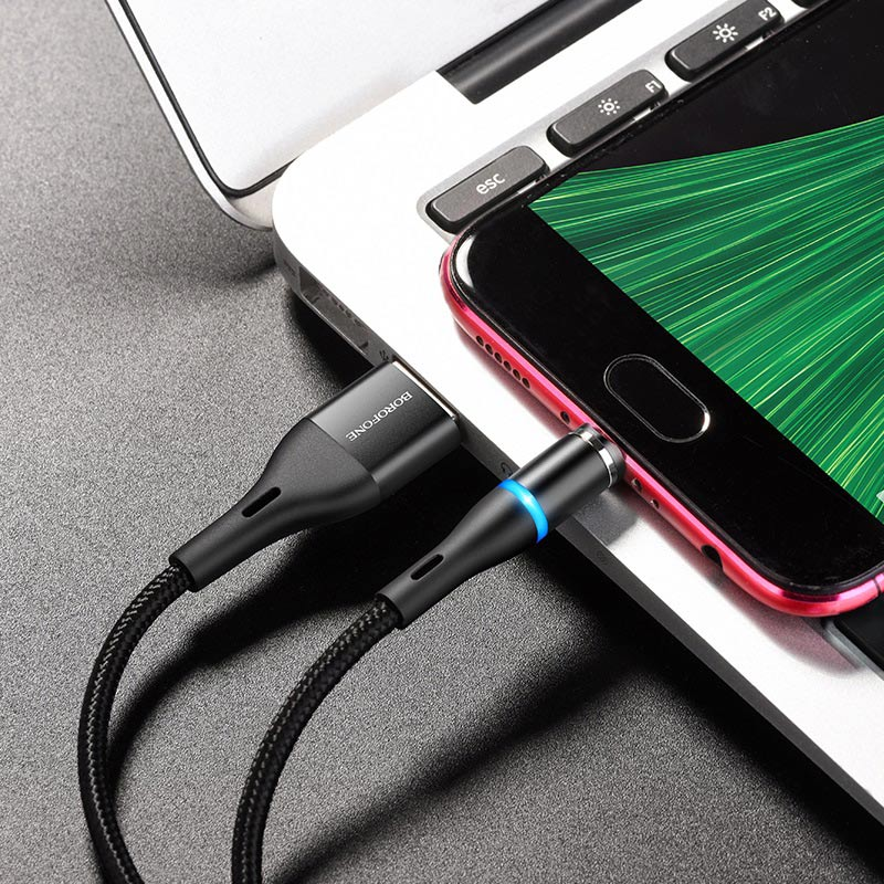 borofone bu16 skill magnetic charging cable micro usb interior black