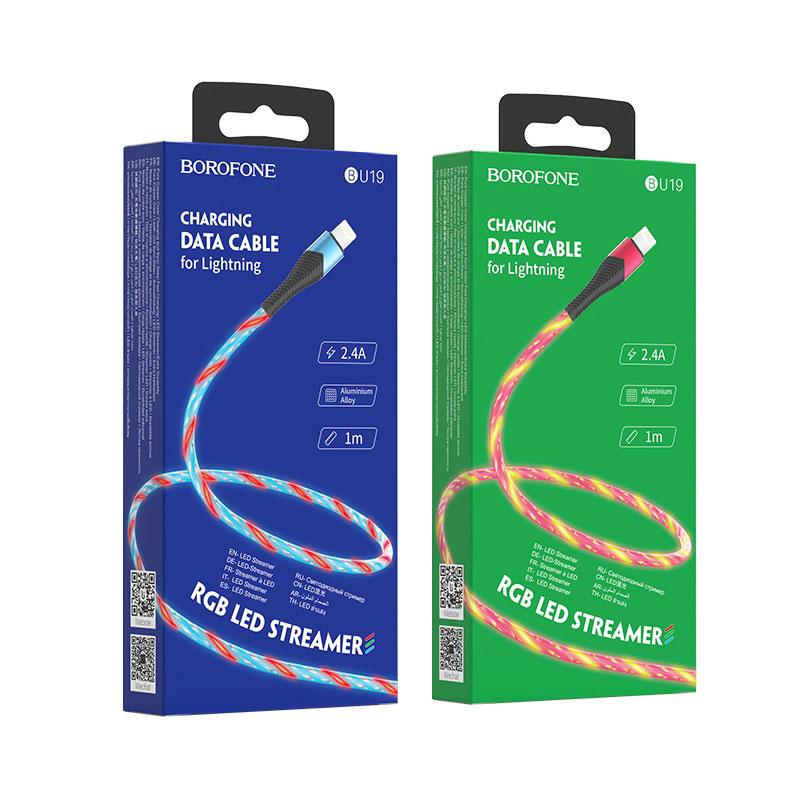 borofone bu19 streamer charging data cable for lightning packages