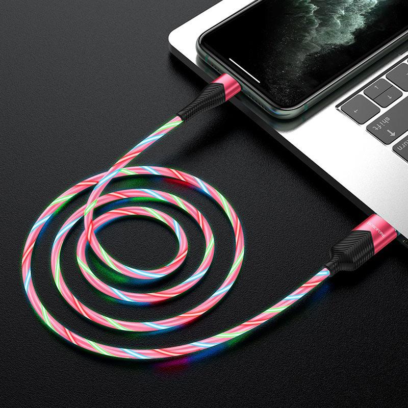 borofone bu19 streamer charging data cable for lightning transfer red