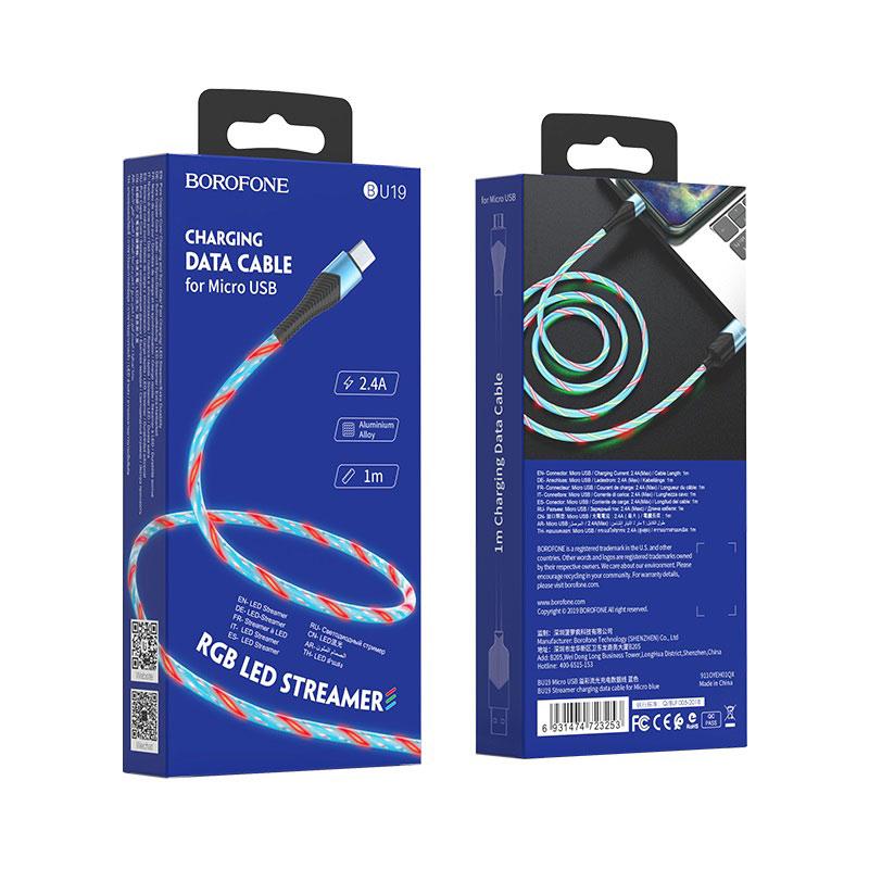borofone bu19 streamer кабель для зарядки и передачи данных для micro usb упаковка вид спереди сзади синий
