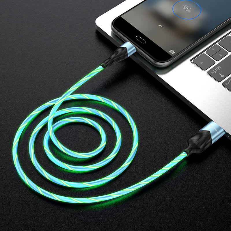 borofone bu19 streamer charging data cable for micro usb transfer blue