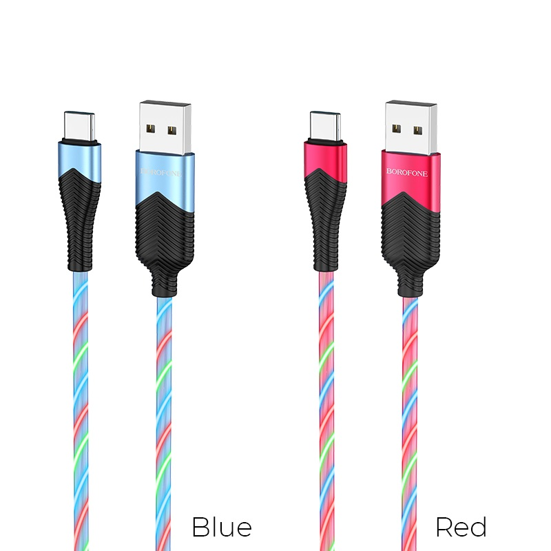 borofone bu19 streamer charging data cable for usb c colors