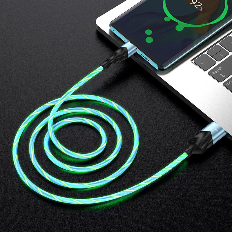 borofone bu19 streamer charging data cable for usb c transfer blue