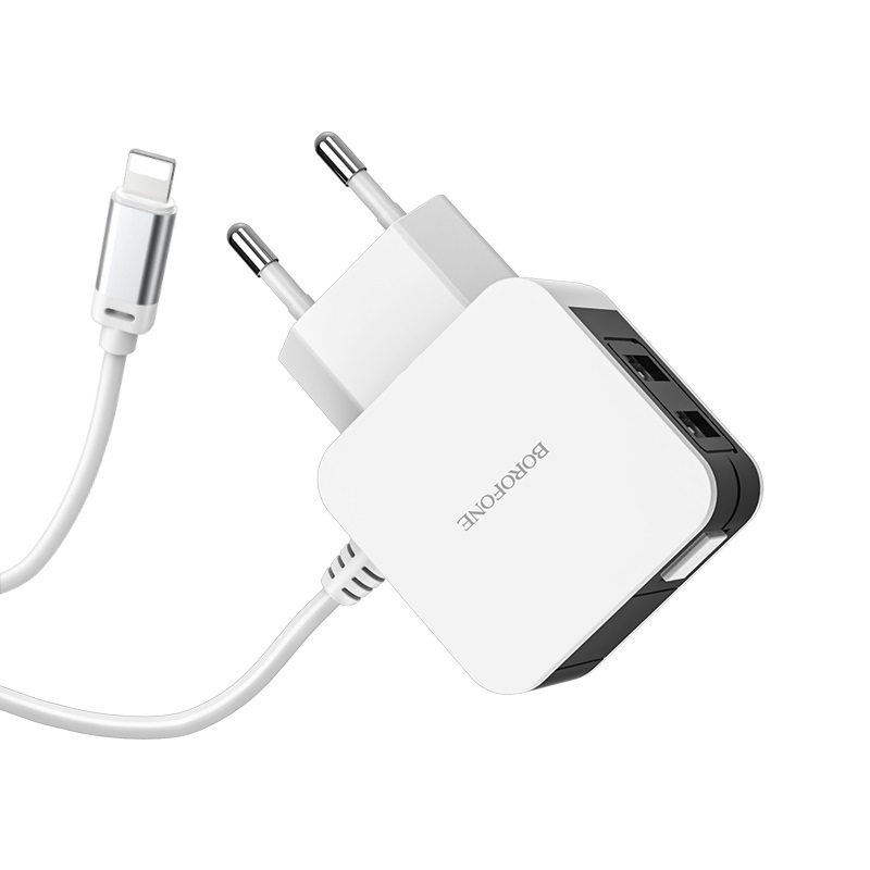 borofone ba41a power lake dual port wall charger eu with digital display cable for lightning
