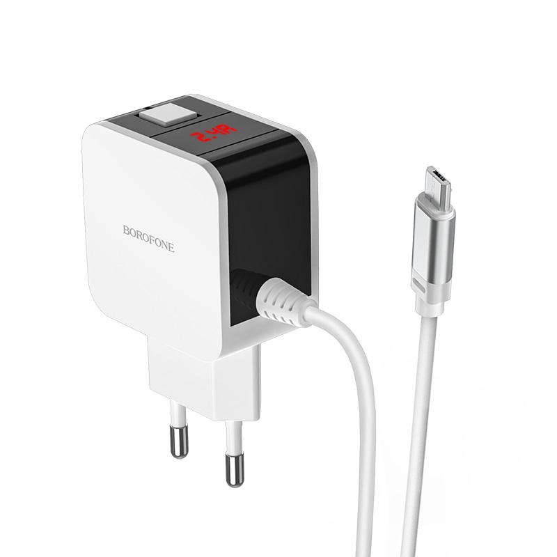 borofone ba41a power lake dual port wall charger eu with digital display cable for micro usb led