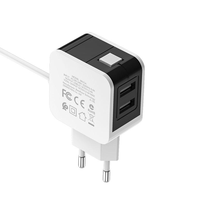 borofone ba41a power lake dual port wall charger eu with digital display cable for micro usb usb