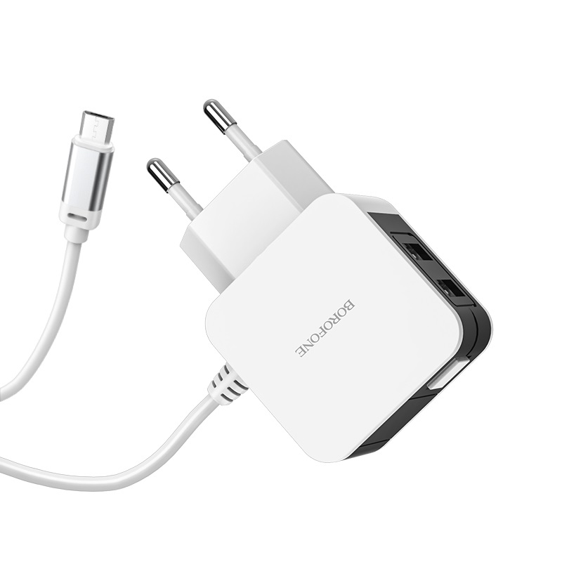 borofone ba41a power lake dual port wall charger eu with digital display cable for micro usb