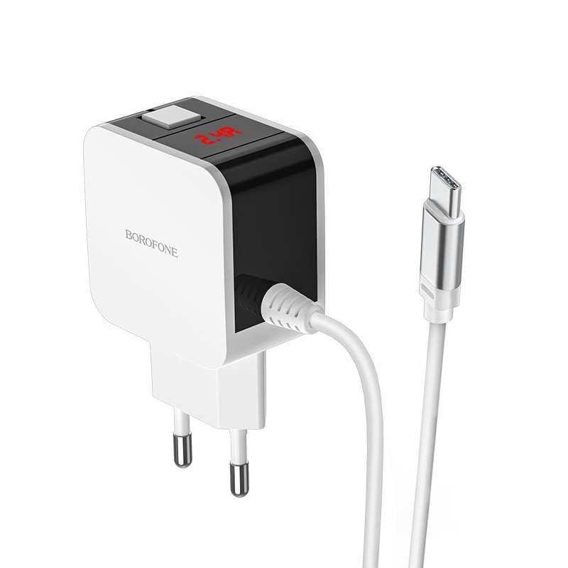 borofone ba41a power lake dual port wall charger eu with digital display cable for usb c led