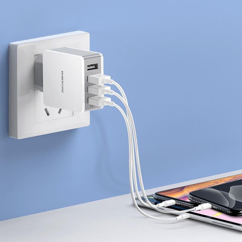 borofone ba43a bountiful four port qc3 charger eu charging