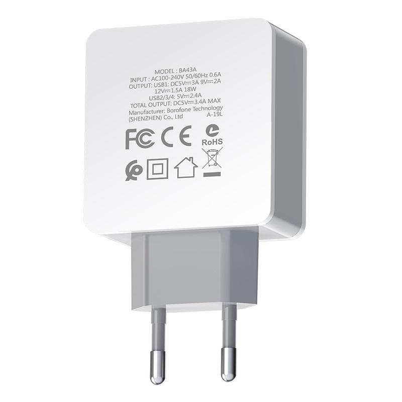 borofone ba43a bountiful four port qc3 charger eu specs