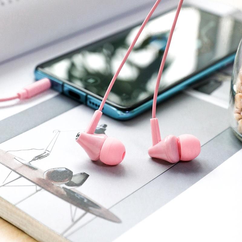 borofone bm49 player universal earphones with mic interior pink