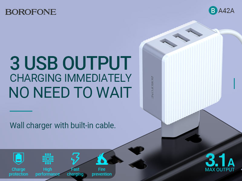 borofone ba42a joyful three port wall charger with cable banner en