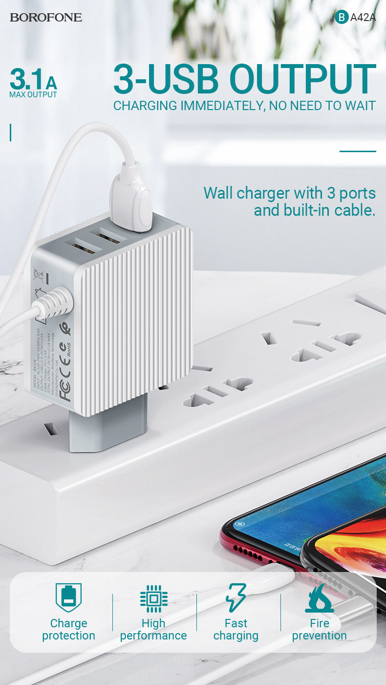 borofone ba42a joyful three port wall charger with cable en