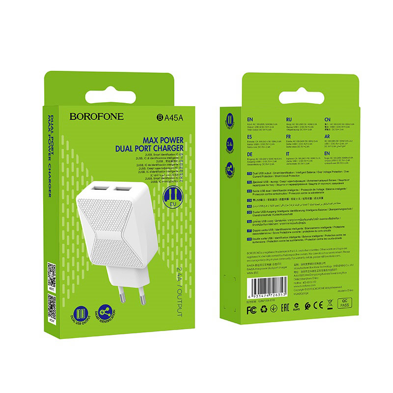 borofone ba45a max power dual port wall charger eu package