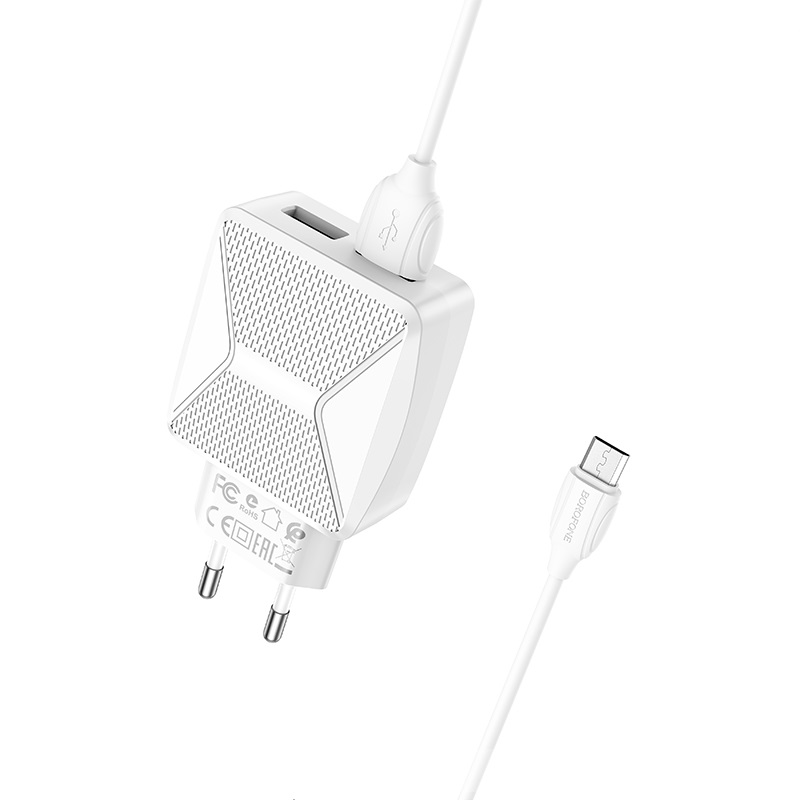 borofone ba45a max power dual port wall charger eu set with micro usb cable kit