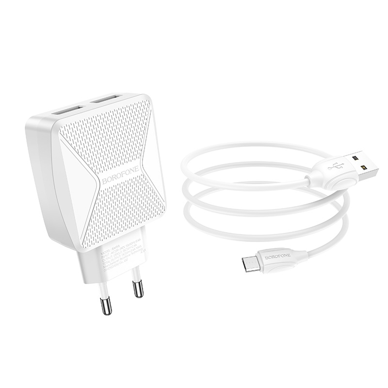 borofone ba45a max power dual port wall charger eu set with micro usb cable wire