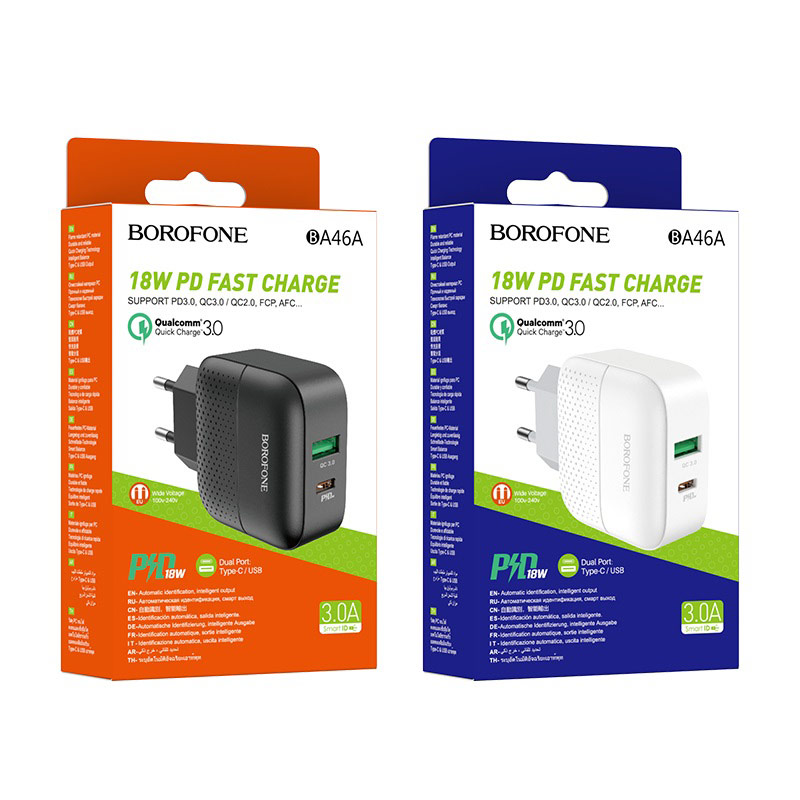 borofone ba46a premium pd qc3 charger eu packages