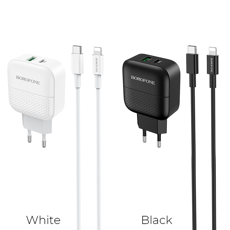 borofone ba46a premium pd qc3 charger eu set with usb c lightning cable colors