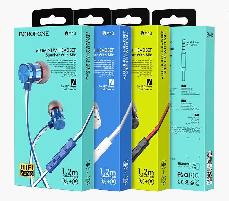 borofone bm48 acoustic wired earphones with mic packages