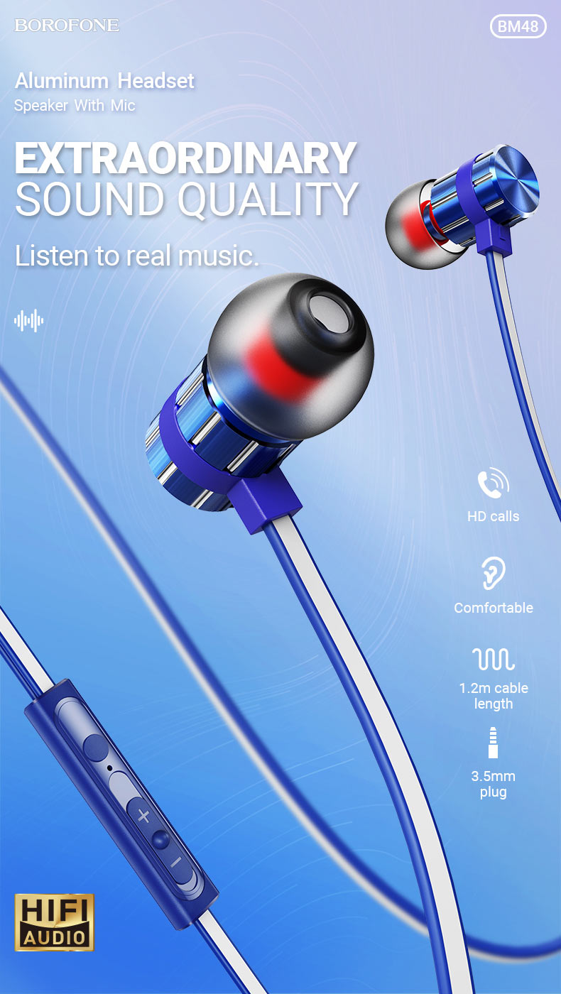 borofone bm48 acoustic wired earphones with mic quality en