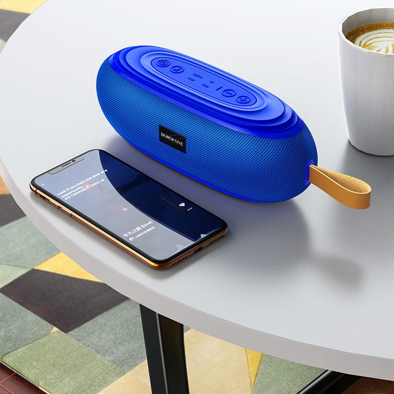 borofone br9 erudite sports wireless speaker interior blue