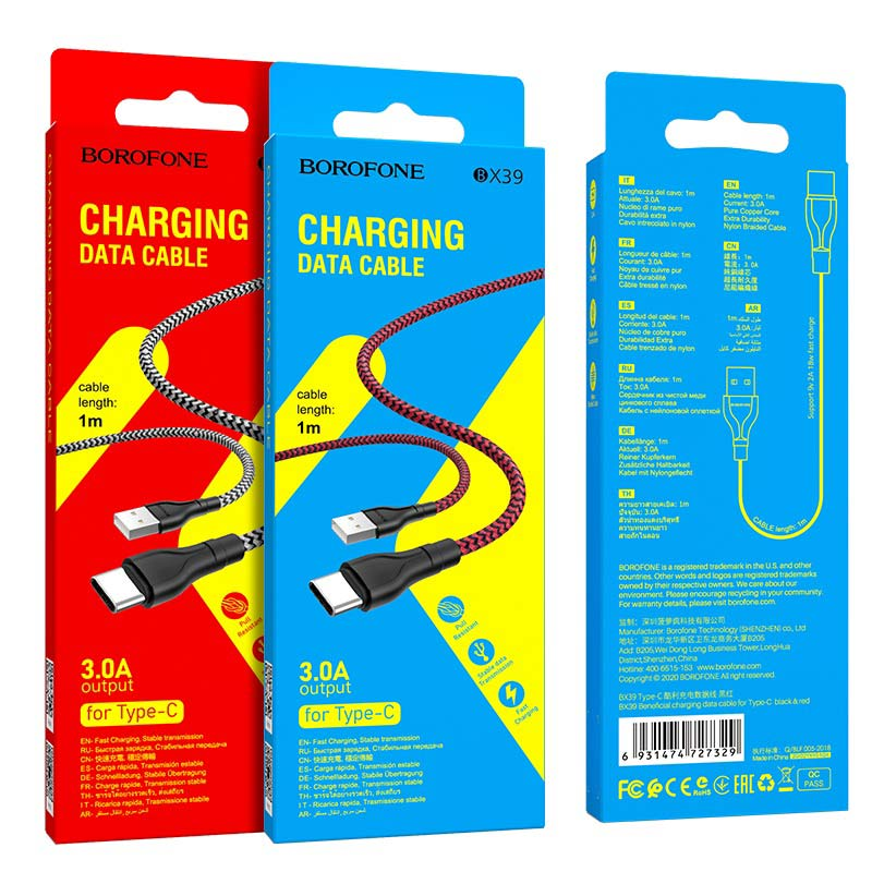 borofone bx39 beneficial charging data cable usb c packages