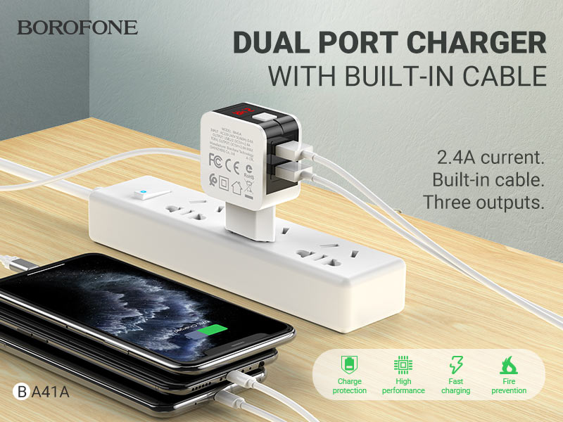 borofone news ba41a power lake dual port charger with digital display cable banner en