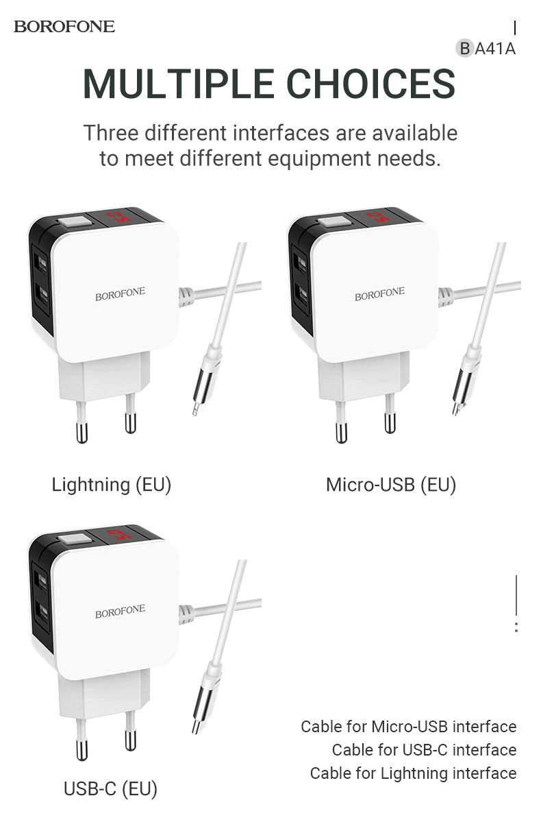 borofone news ba41a power lake dual port charger with digital display cable choices en