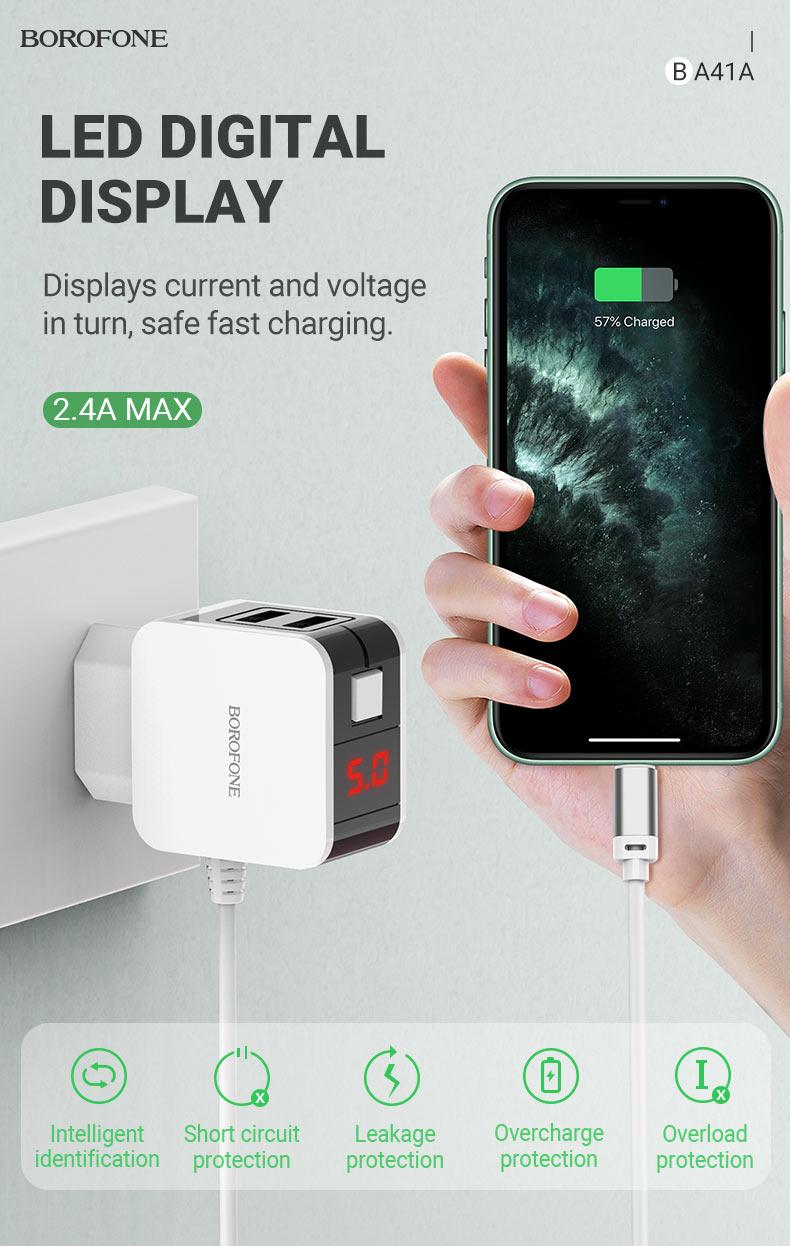 borofone news ba41a power lake dual port charger with digital display cable display en