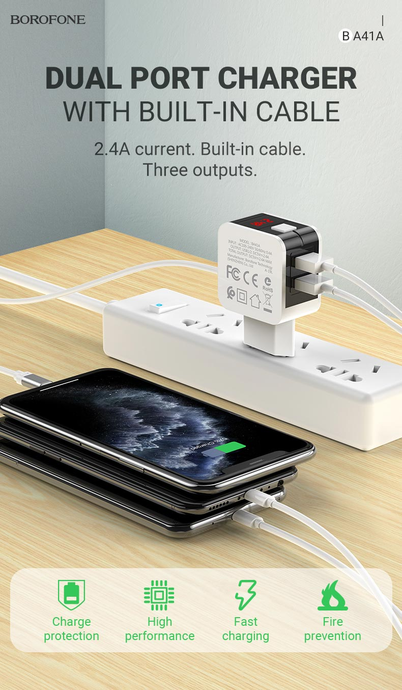borofone news ba41a power lake dual port charger with digital display cable en