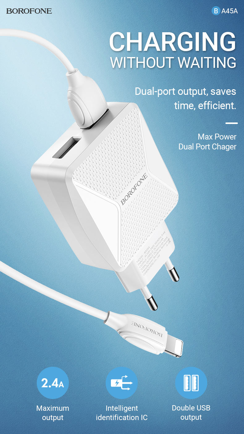 borofone news ba45a max power dual port wall charger charging en
