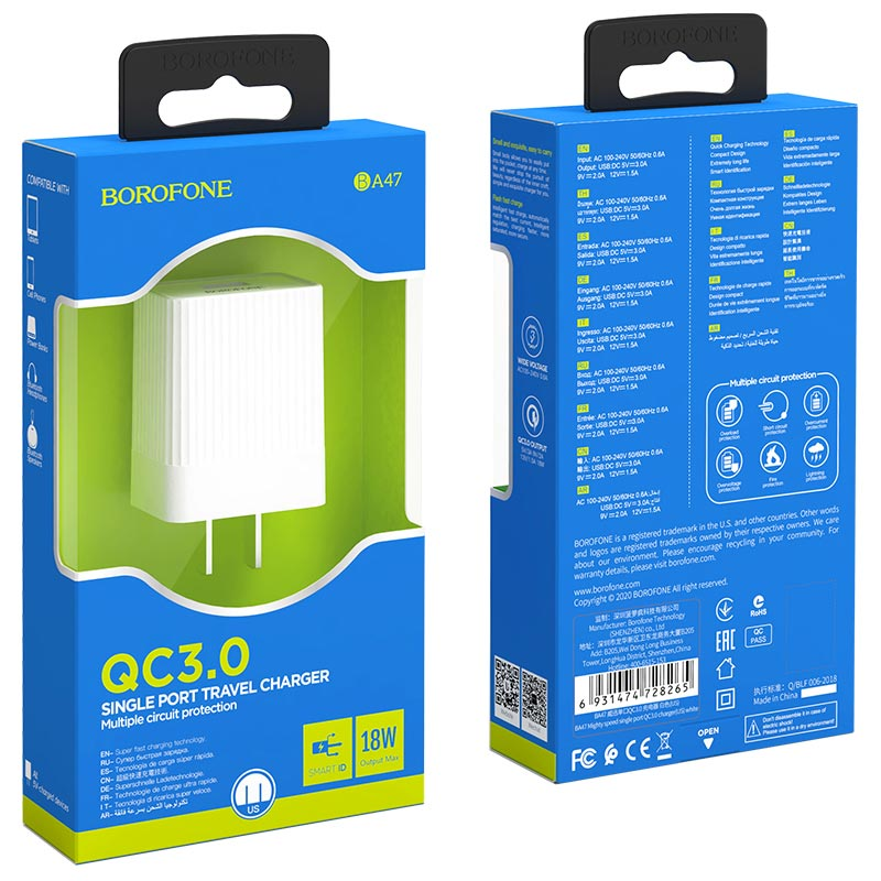 borofone ba47 mighty speed single port qc3 wall charger us packages