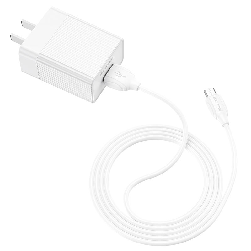 borofone ba47 mighty speed single port qc3 wall charger us set with micro usb cable wire