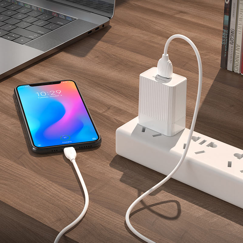 borofone ba47 mighty speed single port qc3 wall charger us set with usb с cable charging