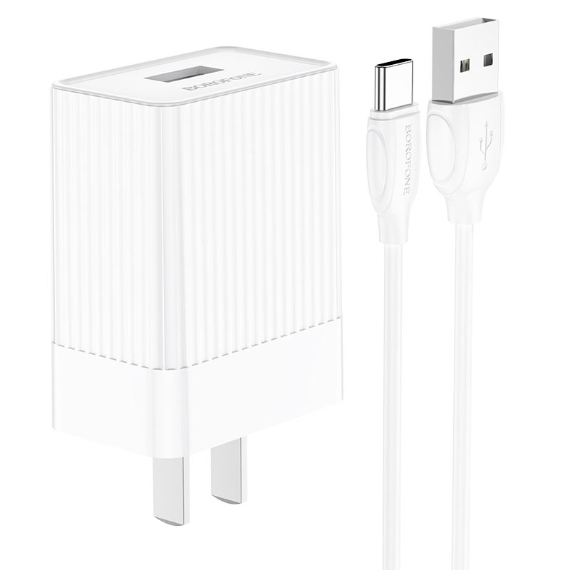borofone ba47 mighty speed single port qc3 wall charger us set with usb с cable overview