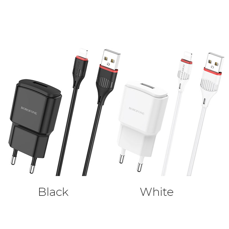 borofone ba48a orion single port wall charger set with lightning cable colors