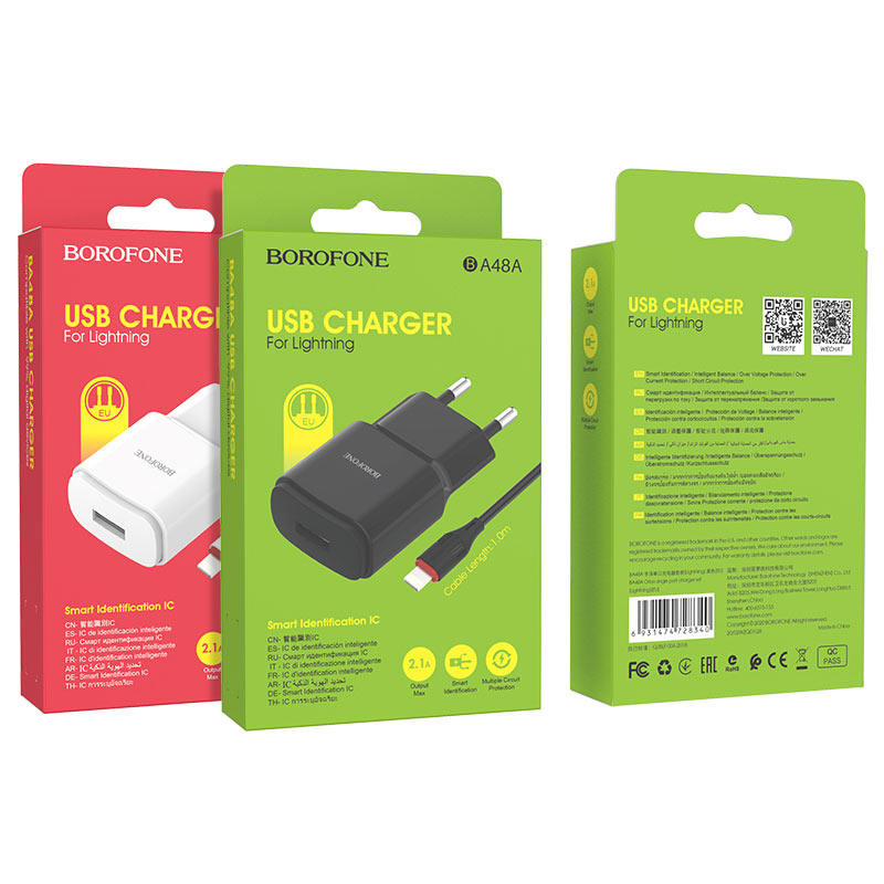 borofone ba48a orion single port wall charger set with lightning cable packages