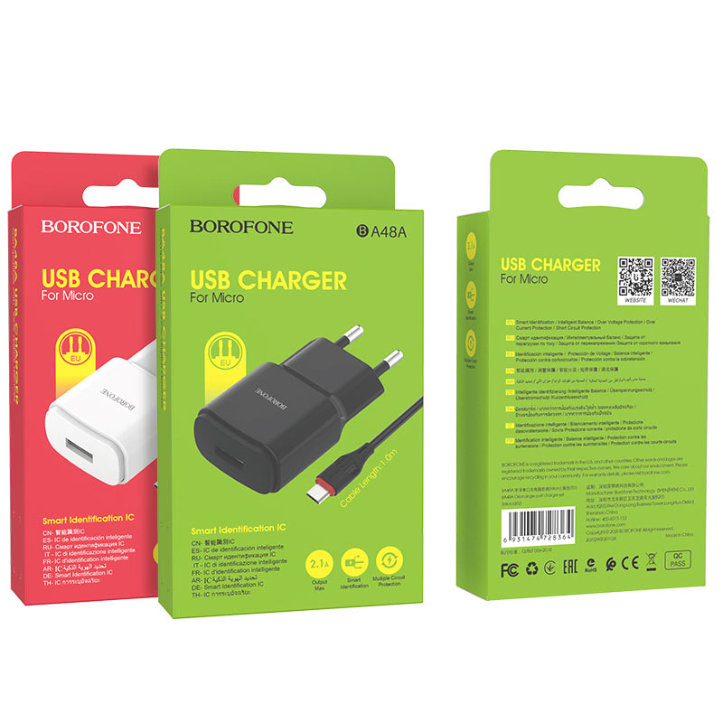 borofone ba48a orion single port wall charger set with micro usb cable packages